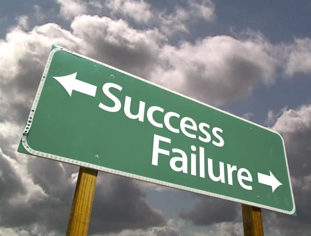 Success, Failure Road Sign with Dramatic Time-Lapse Clouds