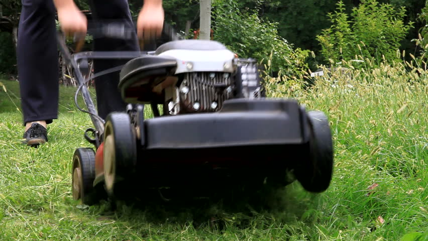 Mowing grass with Lawnmower