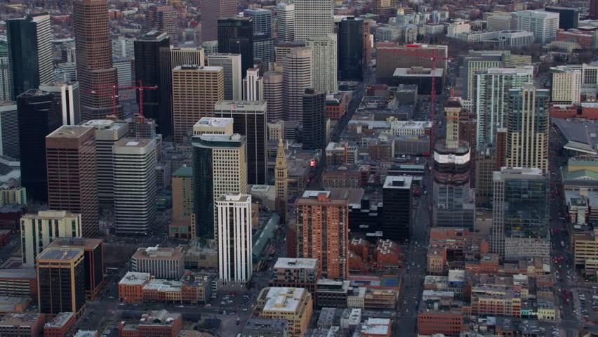 Denver, Colorado circa-2017, Zoom into downtown Denver city buildings | Shutterstock HD Video #27568825