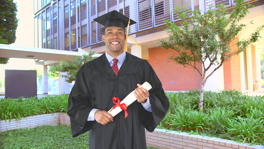 Stock video of african american man with graduation gown   2760356 ...