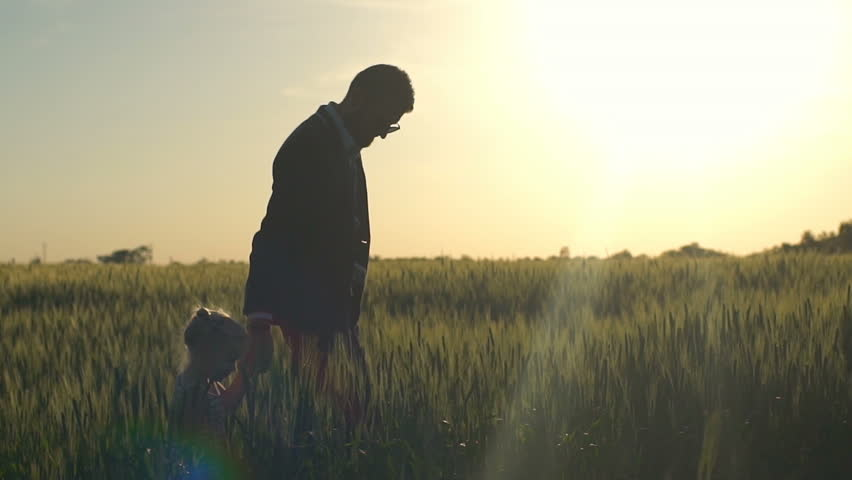 Young businessman walking with his daughter on the field slow motion