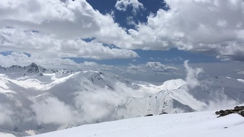 Timelapse over the mountains in Gulmarg, Kashmir , India