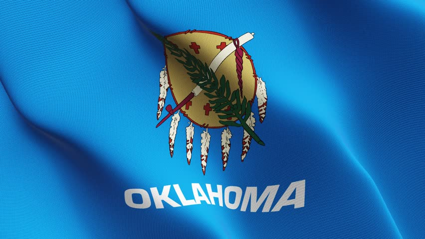 Oklahoma US State flag waving seamless loop in 4K and 30fps. United States of America oklahoma loopable flag with highly detailed fabric texture.