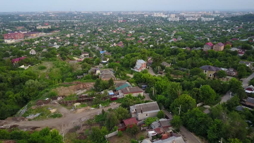 Aerial view of Kharkiv city center. Summer weather, cloudy.