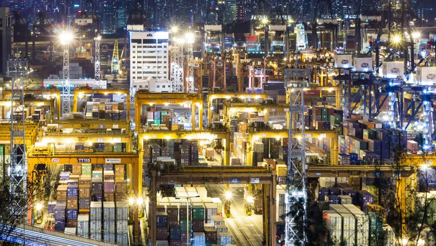 Kwai Tsing, Hong Kong, 8 June 2017 -: Containers Port Timelapse at Night in Hong Kong | Shutterstock HD Video #27625588