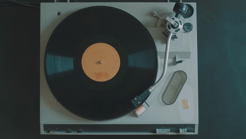 Cinemagraph Loop Vintage Vinyl Record Player From Top