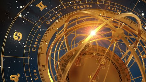 Zodiac Signs and Armillary Sphere On Blue  Background. Seamless Looped. 3D Animation.