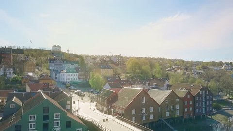 NORWAY, TRONDHEIM - MAY 14, 2017: Aerial view of old town in Trondheim with colorful houses. Trondheim is one of the largest cities in Norway.