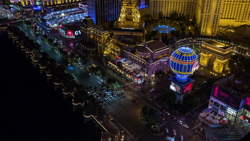 Las Vegas, Nevada, USA - June 6th 2017 - Las Vegas Strip Aerial Timelapse at Night With Panning and Tilting | Shutterstock HD Video #27684028