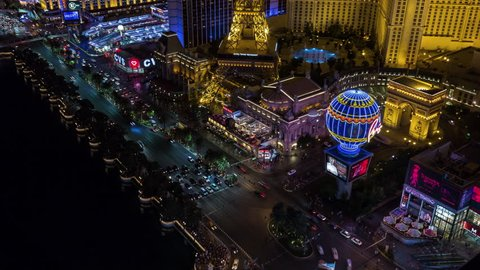 Las Vegas, Nevada, USA - June 6th 2017 - Las Vegas Strip Aerial Timelapse at Night With Panning and Tilting