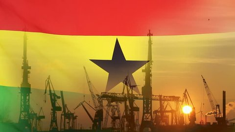 Industrial concept with Ghana flag at sunset