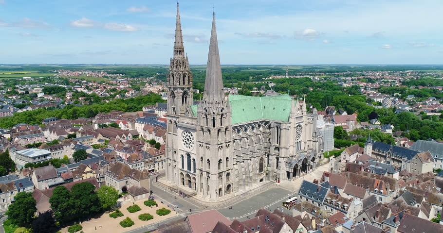 France, Marne, Reims, Aerial view of Notre-Dame de Reims cathedral, listed as World Heritage by UNESCO, 4K, UHD (4096X2160) | Shutterstock HD Video #27693898