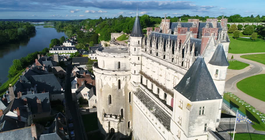 France, Indre et Loire, Loire valley listed as World Heritage by UNESCO, Amboise, the 15th century castle (aerial view), 4K UHD (4096X2160)