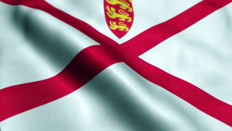 Jersey flag waving in the wind. Looping sun rises style. Animation loop