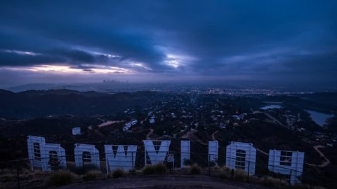Downtown Los Angeles City from Hollywood Sign Sunrise Timelapse