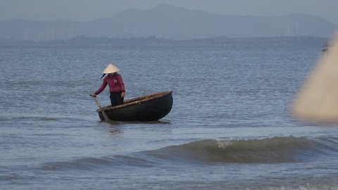 Long Hai, Vietnam - February 2017: General view on Long Hai beach and Long Hai fish market, Ba Ria Vung Tau, Vietnam.