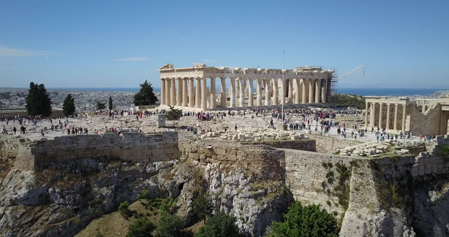 Aerial flyover of the Acropolis in Athens, Greece. Athens the capital and largest city of Greece. It is one of the world