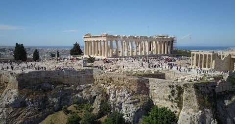 Aerial flyover of the Acropolis in Athens, Greece. Athens the capital and largest city of Greece. It is one of the world's oldest cities.