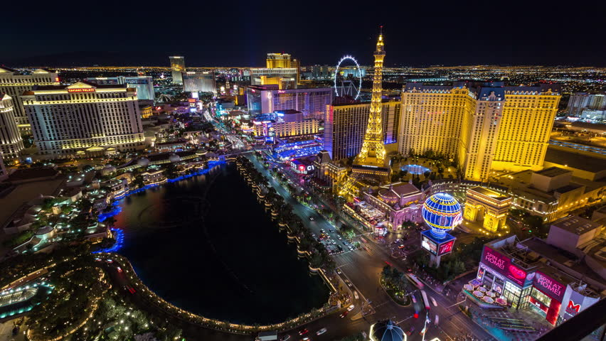 Las Vegas, Nevada, USA - June 6th 2017 - Las Vegas and Bellagio Fountains at Night Aerial Timelapse | Shutterstock HD Video #27775768