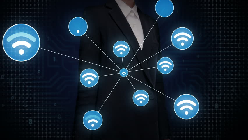 Businesswoman touching screen, Wireless technology icon connect global world map. dots makes world map, internet of things. | Shutterstock HD Video #27780628