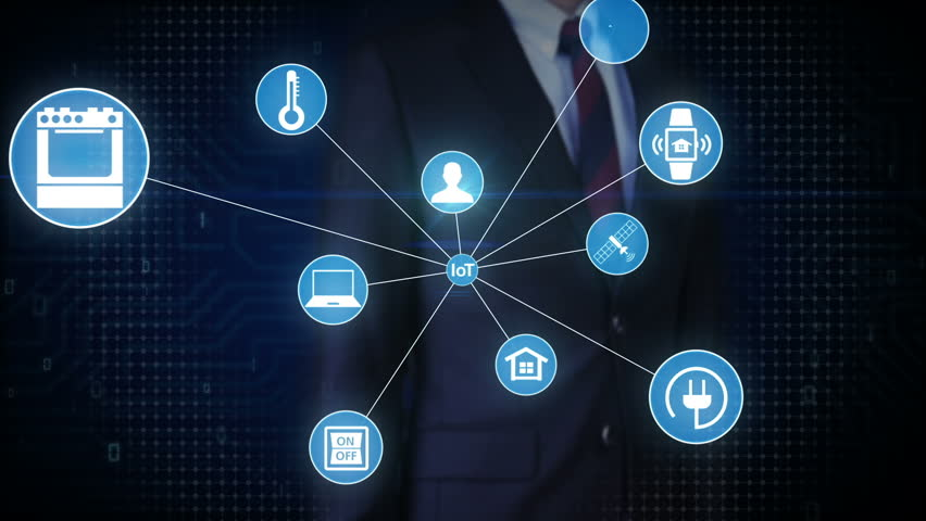 Businessman touching screen, IoT technology connect global world map. dots makes world map, internet of things. | Shutterstock HD Video #27780898