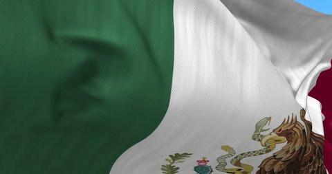 Close up Mexico flag blowing in the wind, looped slowmotion, 4K