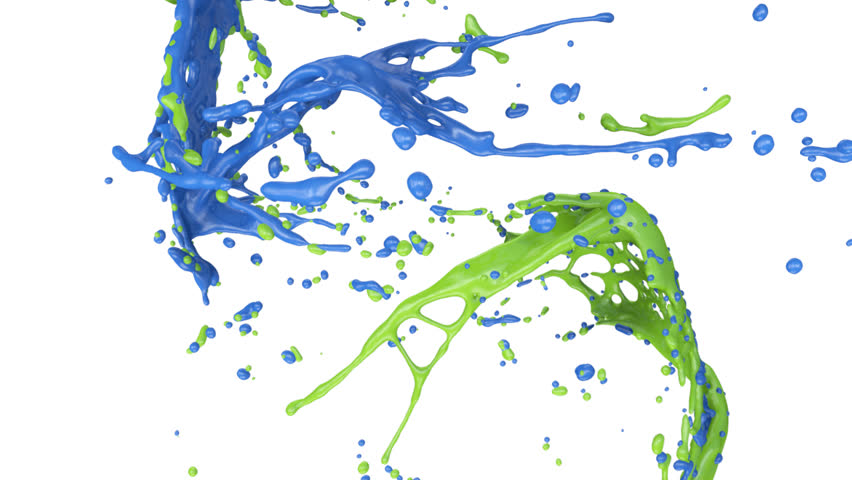 Blue And Green Paint Splashes Collide In Slow Motion Full Hd