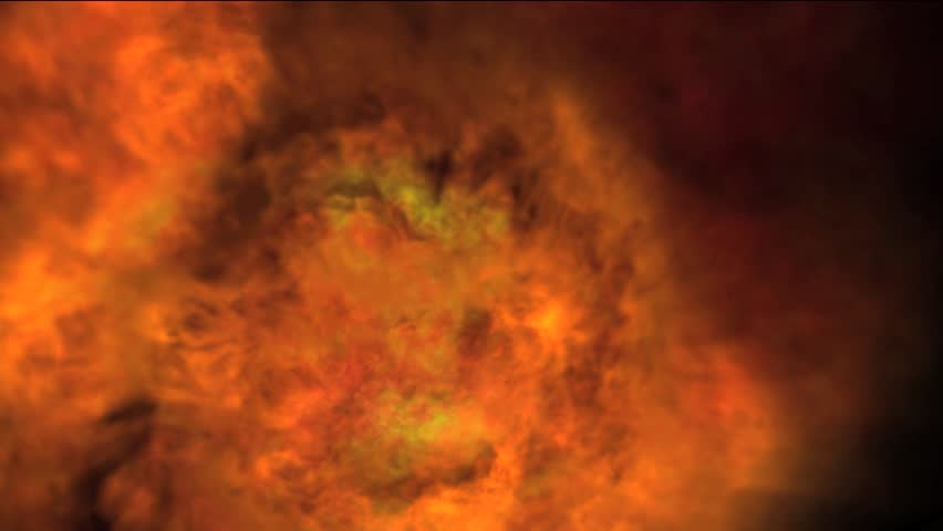 HD particle effects simulating fire, smoke and flames on black background