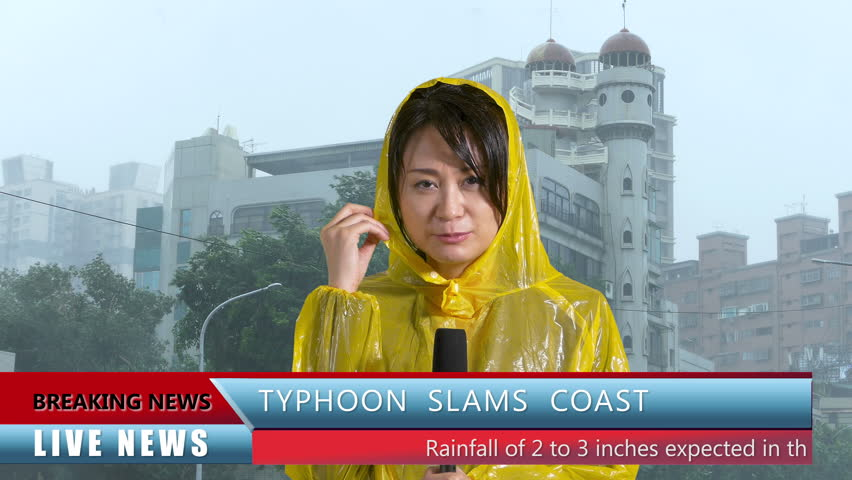 Asian Weather reporter reporting on typhoon, live news with lower thirds | Shutterstock HD Video #27838198
