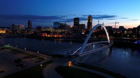 Des Moines Iowa Evening Time Flyover the River Walk Bridge