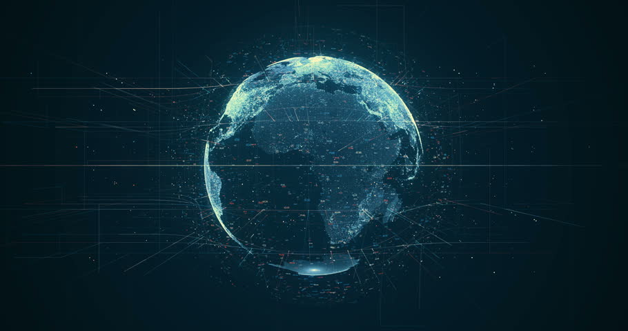 Digital data globe - abstract 3D rendering of a...