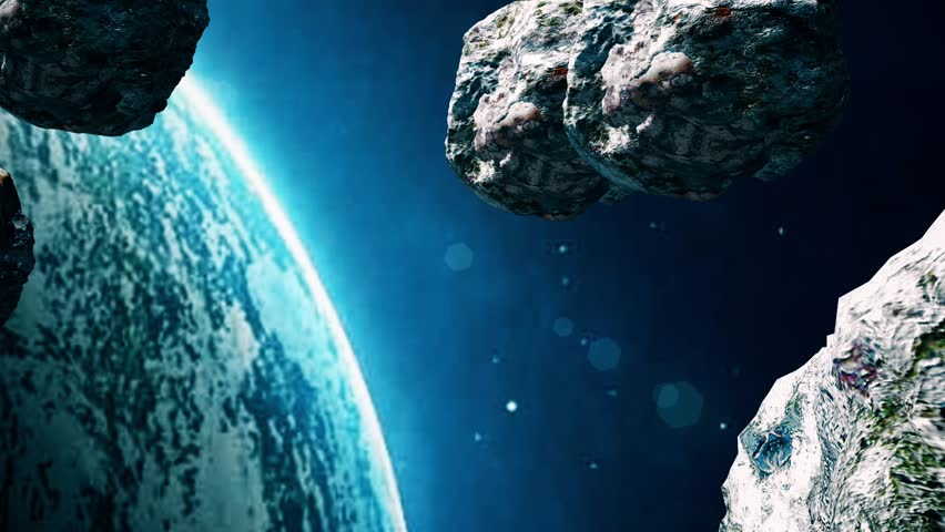 Planet and Asteroids. Asteroids are Attacking the Earth. Meteors in space. The space scene. Deep space. Asteroids. Meteors. | Shutterstock HD Video #27899683