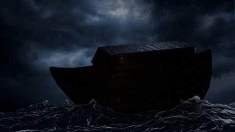 Noah's Ark being tossed by waves in the middle of a rainstorm.