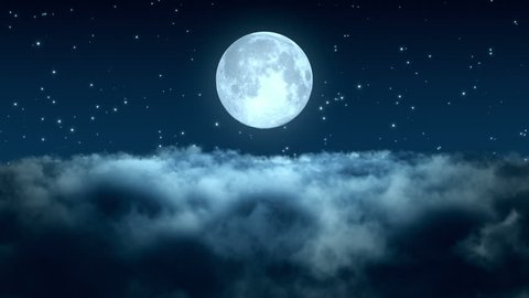 Flying Through Dense Clouds at Night with Beautiful Full Moon and Twinkling Stars in The Background Seamless Looping Motion Background Animated Video Backdrop Blue Cyan