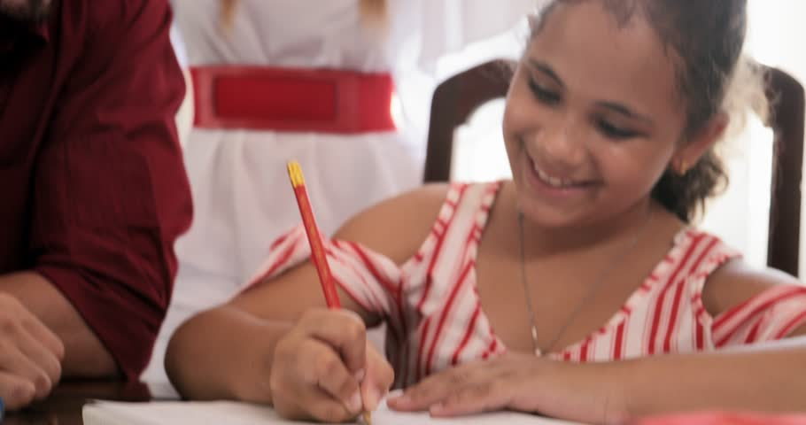 Happy white family at home. Hispanic father, mother and child. Latino dad and mom helping daughter with school homework. Education, parenthood and relationship, man teaching and girl learning