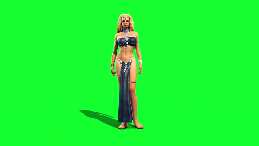 Sexy Odalisque Woman Sinuous Front Green Screen 3D Rendering Animation