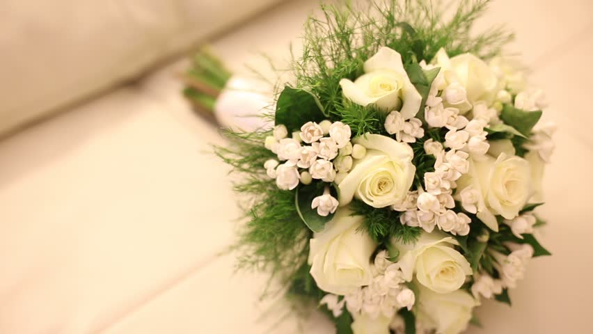 fresh flowers for wedding. wedding bouquet - hd stock footage clip fresh flowers for