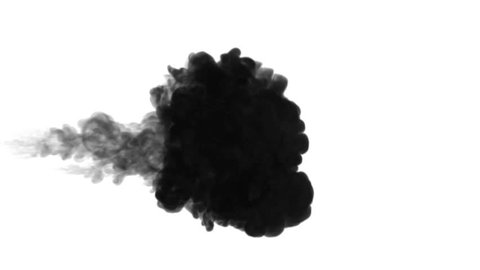 One ink flow, infusion black dye cloud or smoke, ink inject on white in slow motion. Black Color splatters in water. Inky background or smoke backdrop, for ink effects use luma matte like alpha mask
