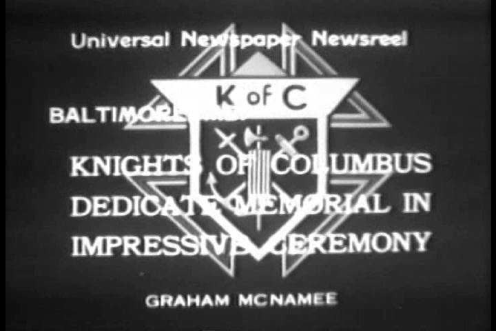 1930s: A 1930s Universal Newspaper Newsreel clip shows the Knights of Columbus during a memorial dedication ceremony in Baltimore, Maryland. | Shutterstock HD Video #27994348