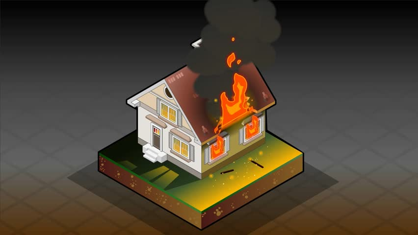 1000 House On Fire Isometric Stock Video Clips And Footage Royalty