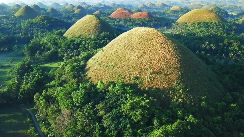 Flyover aerial view of Chocolate hills. Bohol, Philippines 2017.