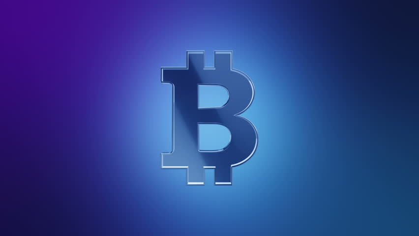 Numbers And Symbols Form A Bitcoin Sign, Blue Tint. More ...