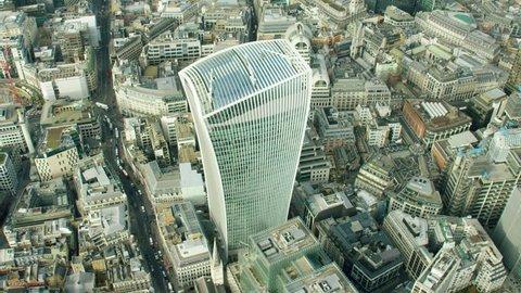London, UK - April 2016: Aerial London City Capital Skyscraper Building Walkie Talkie British Landmark construction economy Urban business RED DRAGON