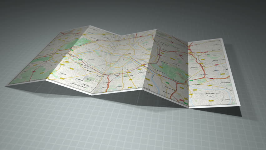 Paris Map with a location pin on it. | Shutterstock HD Video #2802952