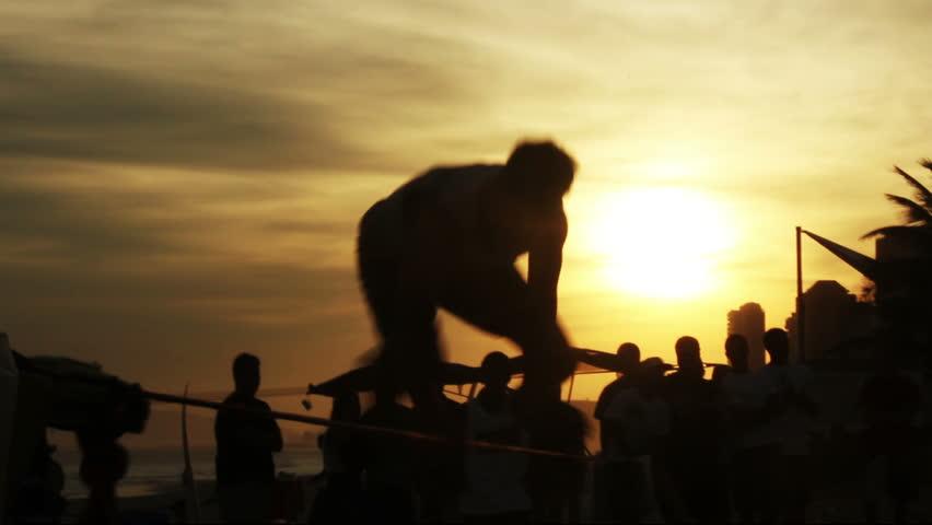 Slackline sport at Rio de Janeiro Beach