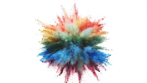 Colorful powder/particles fly after being exploded against white background. Shot with high speed camera, phantom flex 4K. Slow Motion.