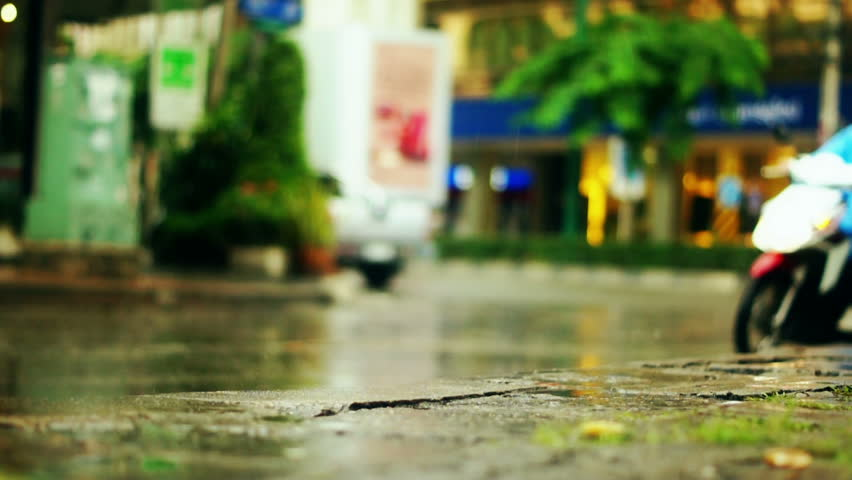 Rainy street - Fivefingers walking under rain - Bangkok