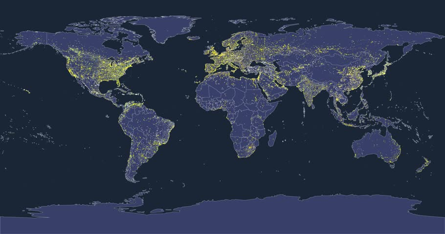 World map with india administrative divisions airports and highways world city lights map animation with silhouettes of continents and country borders based on my gumiabroncs Image collections