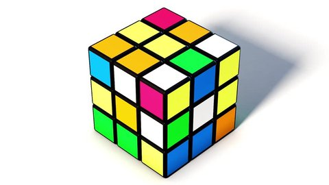 SAO PAULO - BRAZIL - JUNE 22, 2017 Rubik cube on the white background. . Rubik's Cube invented by a Hungarian architect Erno Rubik in 1974.