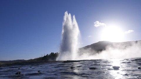 Erupting of a geysir in Iceland